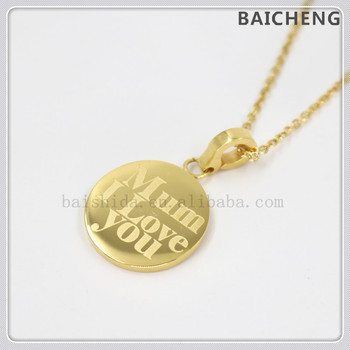 High polishing Circle pendant Jewelry for Mother's day Stainless steel necklace