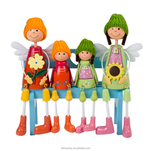 4pcs/set Happy Sunflower Family Wooden Hanging Doll Toys For Kids Birthday Gift and Home Decoration