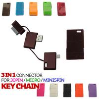 keychain type 3 in 1 usb charging cable for 30PIN/MICRO/ MINI5PIN black white rose red ed green blue orange apricot purple