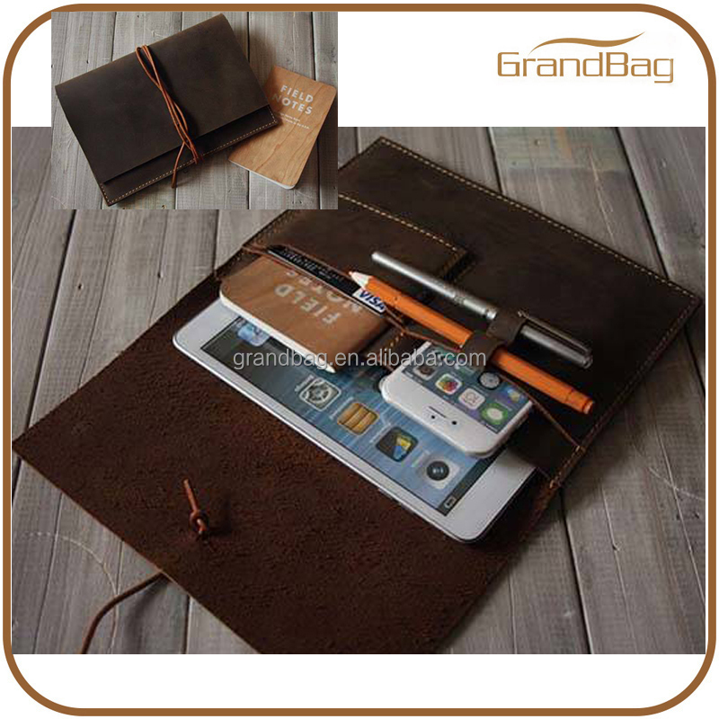 Top quality Tablet Case Leather Case traveller soft leather for Ipad cover with phone case and pen