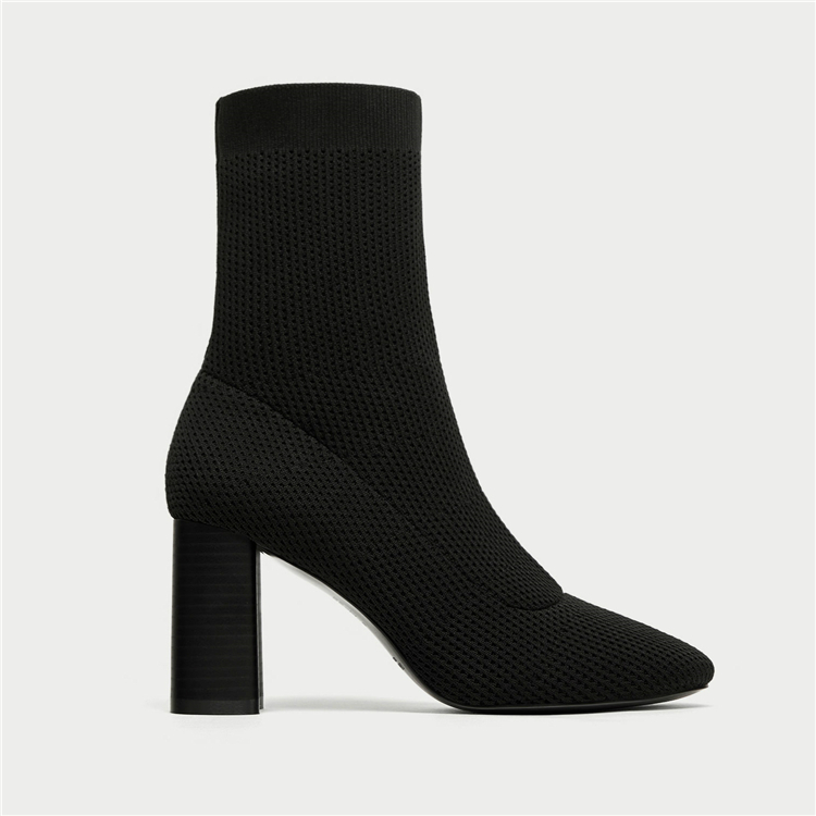 ZA029 2017 New Style big size Block High Heel Women Casual Shoes Ladies knitted fabric ankle boots