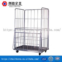 4 sides folding steel roll cage container for milk