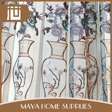 Fashionable wholesale popular embroidery sheer curtain fabric