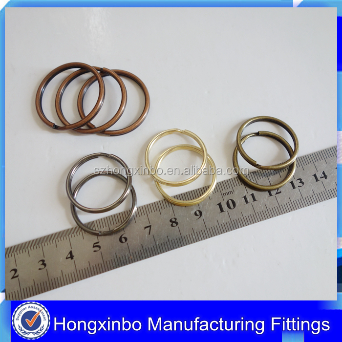 Hongxinbo custom color silver/gold/antique brass/copper metal key ring split key ring