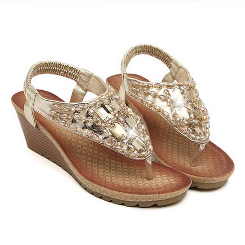 SE1002 The New 2014 Beaded Slippers Wedges Beach Sandals Shoes For Women