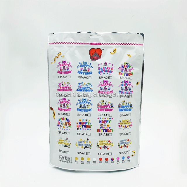 OEM custom print aluminum plastic stand up packing pouch for universal/custom Balloon Bag with Zipper