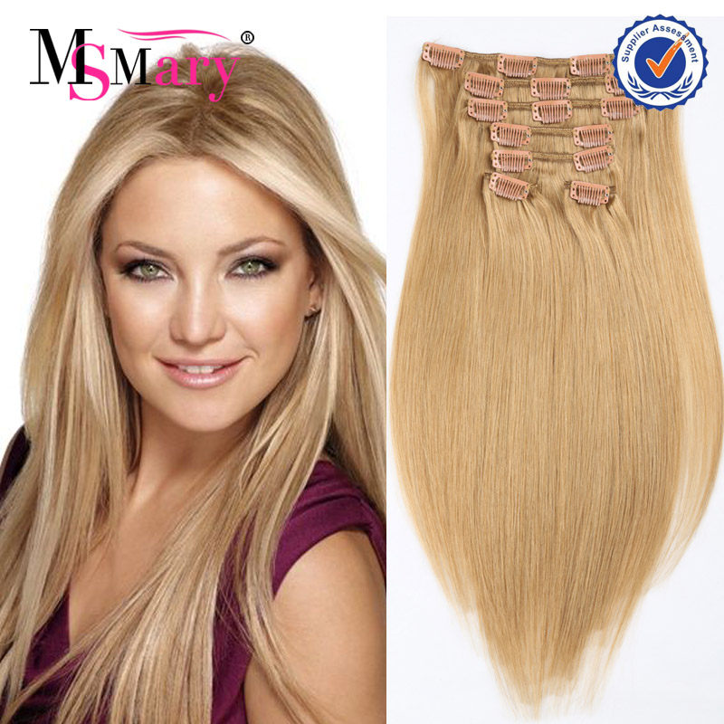 cheap top quality hair clip 100% brazilian human hair clip in/on hair extensions dubai