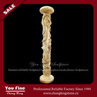 Golden dragon marble column