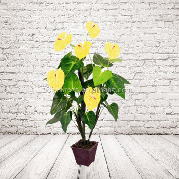Miniature Artificial Yellow Flower Tree For Holiday Decoration