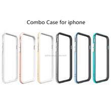 Mobile Phone Accessorie 2 in 1 Round Frame Metal Bumper Hybrid Combo Case For Iphone