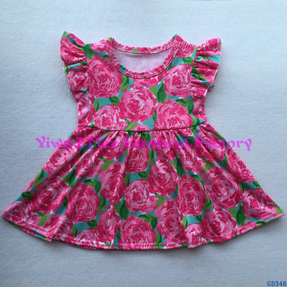 Boutique Remakes Summer Baby Clothes Awesome Littler Girls Rose Pattern Flutter Sleeve Pearl Dresses GD346