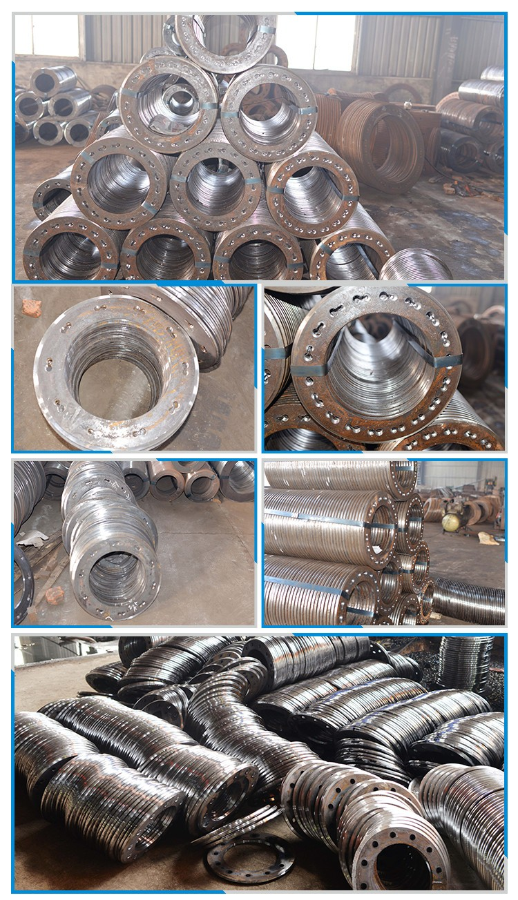 Carbon steel spun pile end plate in flange
