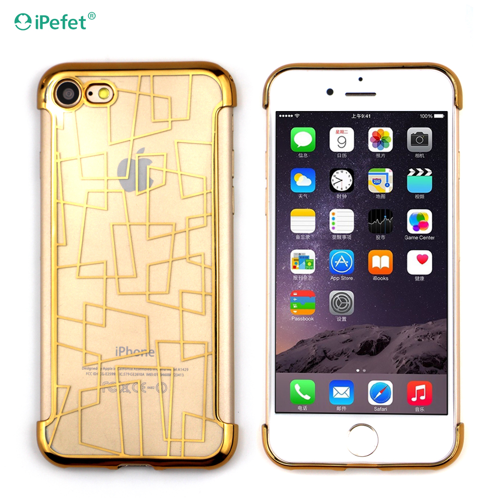 Shock resistant electroplating tpu mobile phone back cover case for iPhone 7