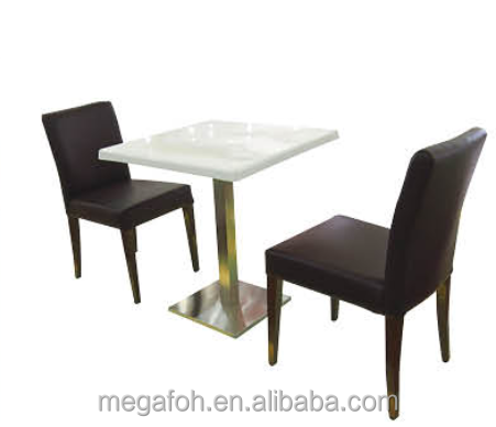 Best quality coffee shop used artificial marble top dining table (FOH-BCA34)