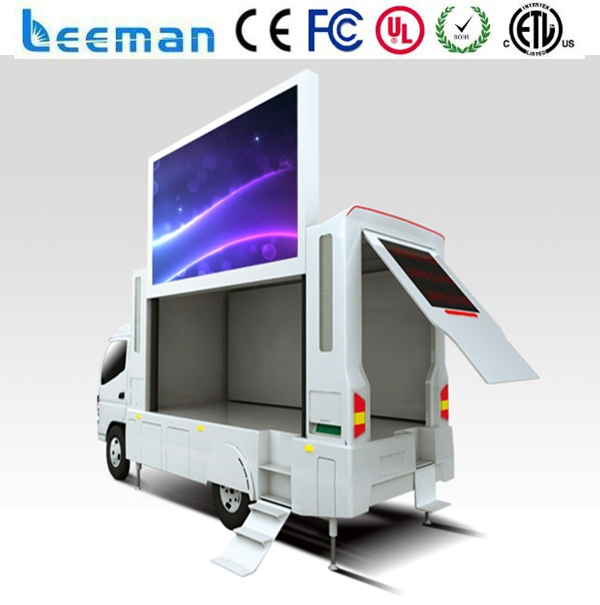 mobile led video trailer solar sign screen mounted led solar vms trailer Leeman P10 mobile truck led advertising video