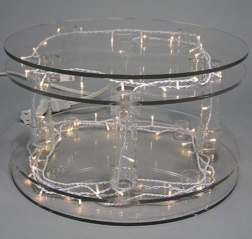 Custom Sizes Available Crystal Clear Acrylic Cake Stands With Lights
