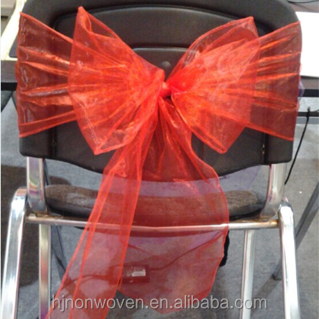 disposable sheer organza chair bow for weddings