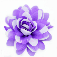 Purple chiffon flowers hair accessories wholesale -creative francy double -colored tutus puff scallop flowers wholesale
