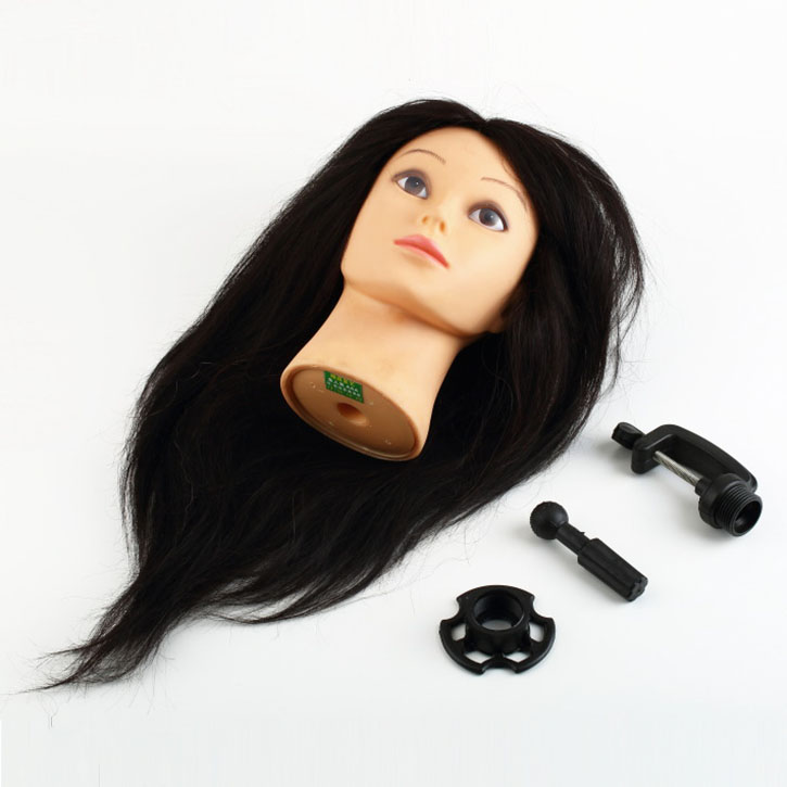 Real Human Hair Hairdressing Training Head With Clamp Salon Mannequin Head