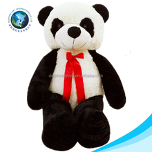 Valentine day cute big size plush panda toy with red tie soft stuffed giant panda plush toy