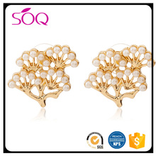 latest fashion earrings jewelry women accessories gold fancy korean style pearl pine tree stud