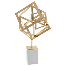 Custom Wholesale Supplier Craft Geometrical metal thai stone sculpture with white marble base For Home Decoration