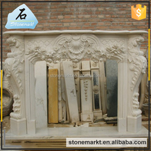 Modern cultured white marble hand carved indoor used fireplace surround