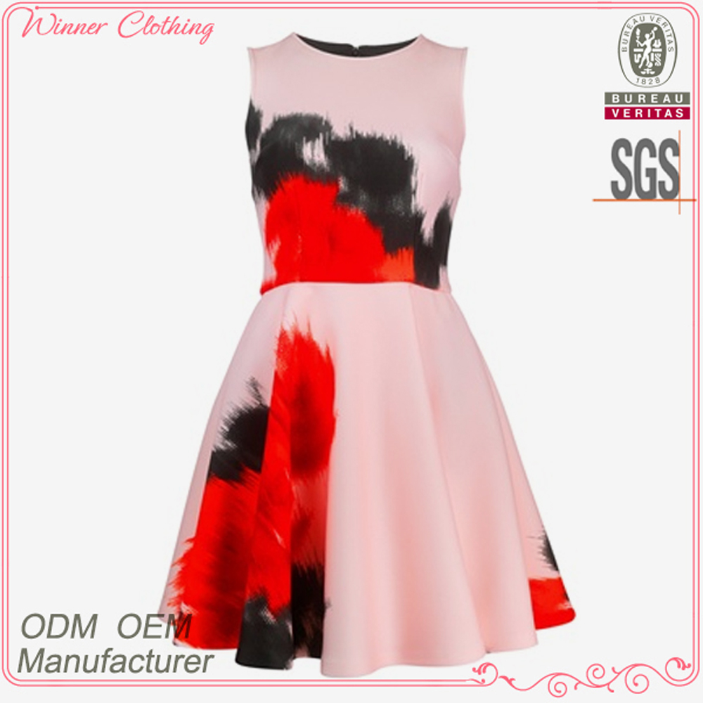 Hot selling women's clothing garment apparel direct factory OEM/ODM manufacturing printed elegant office ladies dresses