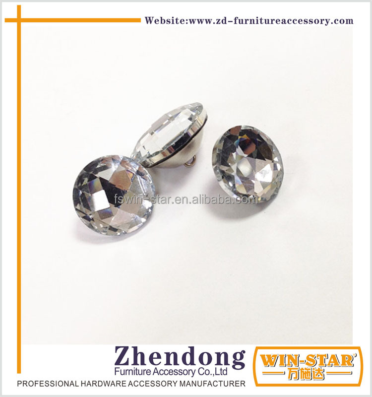 Wholesale Transparent Round Diamond Crystal Button For Bed