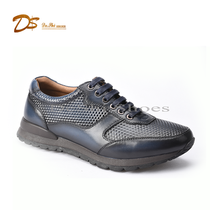 High quality casual style sneaker running shoe rubber genuine leather sport shoes men