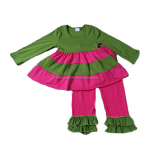 girls fancy green hot pink matching clothing set wholesale bangkok manufactures children clothes