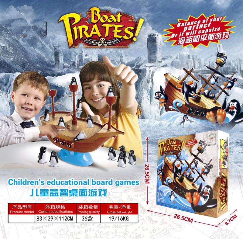 Children's educational board balance penguins Boat Pirates toy play <strong>games</strong>