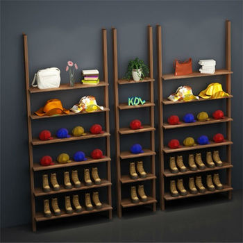 sports shoes display shelf/wooden shoes display shelf/shoes display shelf