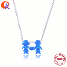 Fashion 925 Sterling Link Chain Fashion Jewelry Blue Opal Pendant Necklace Boy And Girl Heart Necklace For Lovers CDSN-0018