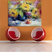 Beautiful yellow flowers oil painting wholesale digital wall art painting for living room