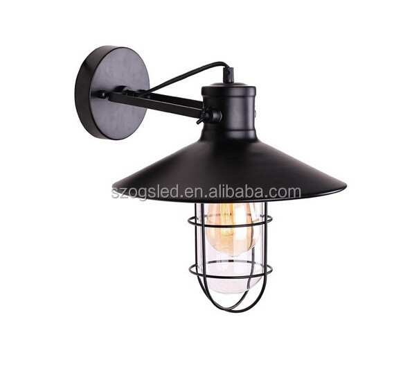 Industrial Clear Glass Wire Cage Metal Black Wall Sconce Wall Lamp Light