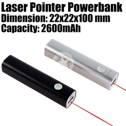 2600mAh Laser Pointer Mini Power Bank with 3 Led for Smartphones Made in China