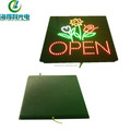 LED open sign for business, arcylic letter sign and logo 16X16 inch
