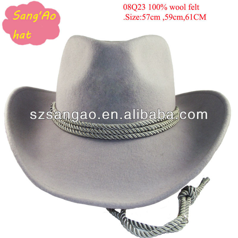 wholesale Perfect grey crushable felt cowboy hat sombrero knitted floppy hat men as rope strap100wool wear for Outside/ casual