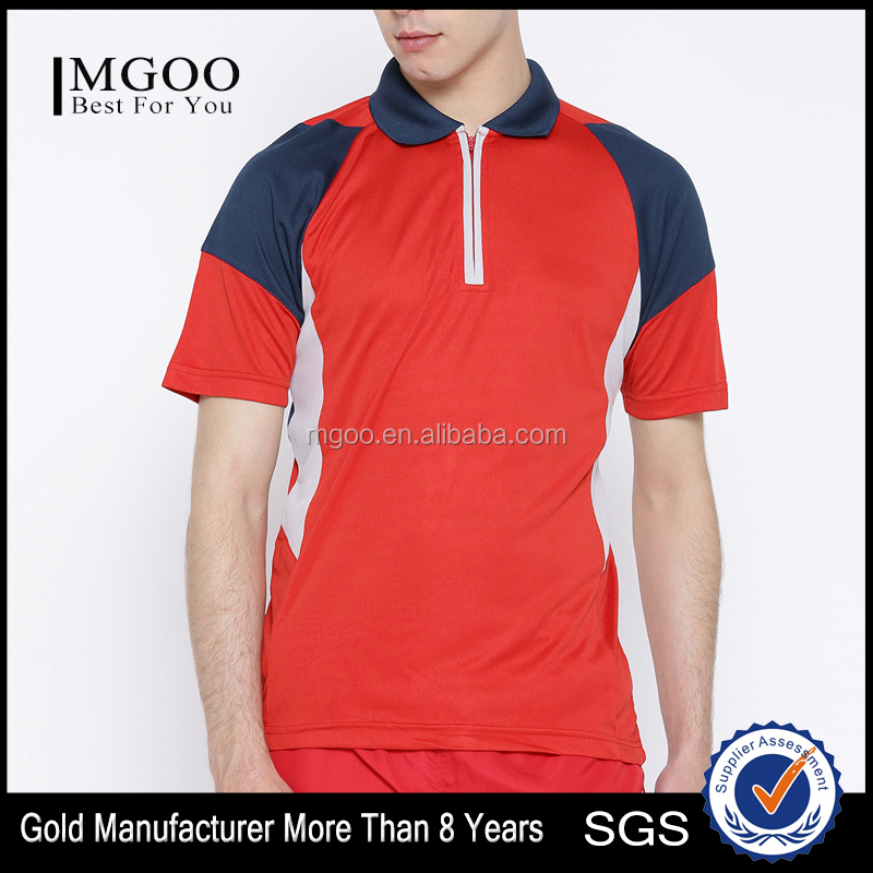Men Red Colourblocked Spread Collar T-Shirt Stylish Spread Collar Tee Concealed Short Zip Closure Custom Mesh Polyester Material