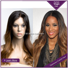 wholesale high quality natural wavy two tone mixed gluless human hair full lace mohawk wig