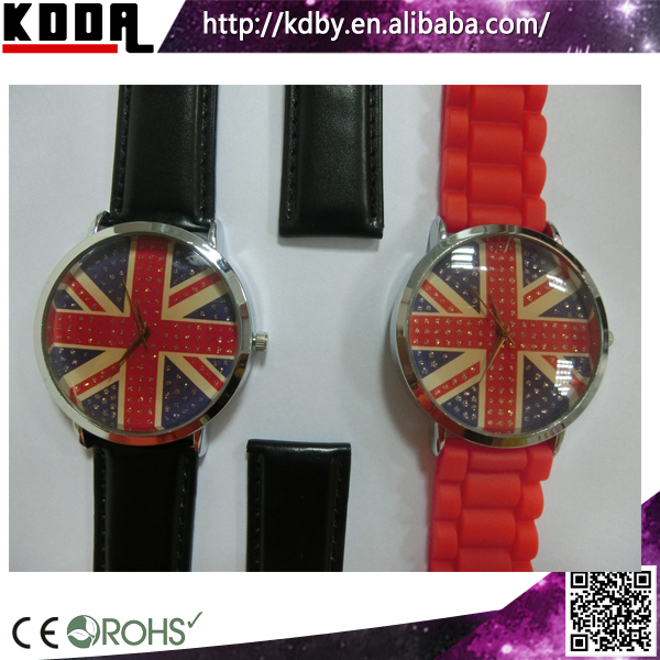 changeable strap girls watches all custom Western uk flag watch Chrismas gift