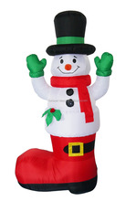 180cm three inflatable slim snowman with hands up on boots for christmas decoration