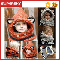 B-c01 Fashion Cute Image Animal Children Beanie Baby Warm Fox Hat Hooded Scarf Earflap Knit Caps Animal Hooded Cowl Hat