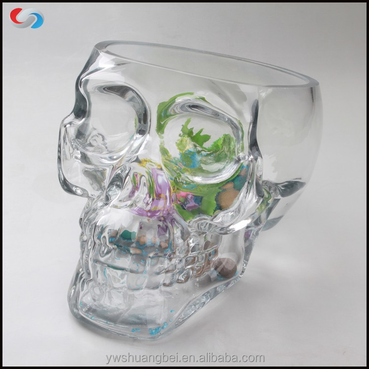 2015 Two Sizes latest Large Creative Design Skull Head Fish Farming Tank Glass Fish Bowl, Aquarium Tank