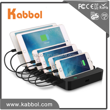 60W 12A 6 Port USB Charging Station Organizer Phone Tablet Stand Charging Dock for iPhone / iPad / Smartphones / Tablets