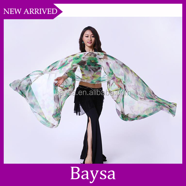 2016 Top selling wholesale chinese silk belly dance fan veils BE495