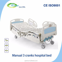 3 cranks manual care bed for hospital used easily