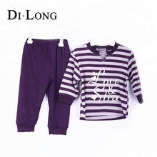 Wholesale Strips Printed Winter Girls Clothing Sets Children Clothes Suit