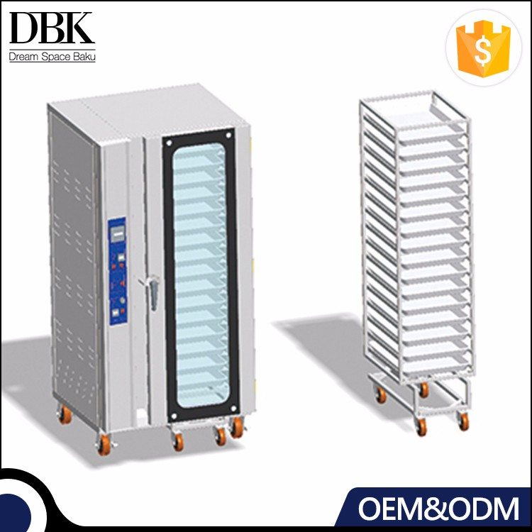 Commercial Bread 16 Pan electric convection oven factory with pan trolley